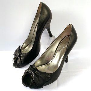 Gianna Bini Leather Open Toe Black Heels Size 7.5